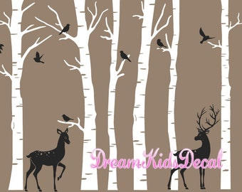 Birch Tree Wall Decal with Birds and Buck Doe , Deer Decal, Baby Nursery Wall Stickers, Nursery Wall Decals, forest, woodland, woods-DK203