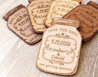 Wooden Save-the-Date magnets, personalized mason jar magnets, wooden save the date magnets, engraved magnets, rustic save the dates