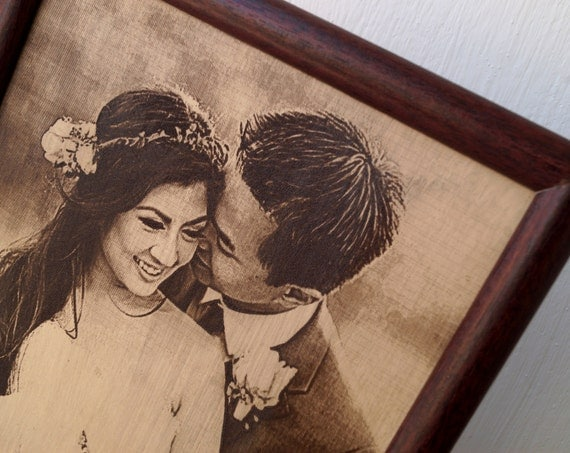 3rd Wedding Anniversary Traditional Gift: Engraved Photograph On Real Leather 3rd Wedding Anniversary