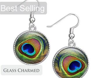 Peacock Jewellery - Feather Earrings - Peacock Glass Earrings - Glass Drop Earrings (PJF1)
