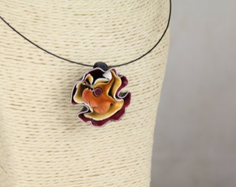 Flower Pendant, Polymer Clay Pendant, Burgundy Pendant, Orange Pendant, Trendy Pendant, Funky Necklace, Boho Necklace, Statement Necklace