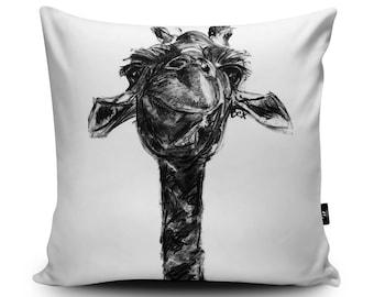 giraffe cushion giraffe pillow cushion cover giraffe throw decorative pillow giraffe - Black Decorative Pillows