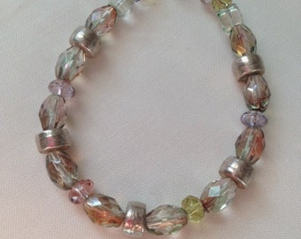 Sterling silver and faceted glass bracelet