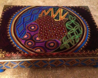 Hand Painted Bohemian Asian Desigin Jewelry Box With Brass Corners And Teal Feet  B0039