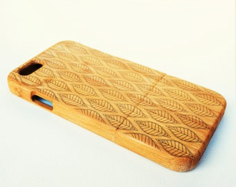 WOODEN PHONE CASE leaf design laser etched bamboo (wooden iPhone 6 case, wooden iPhone 6s case)