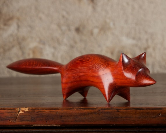 Abstract Wooden Fox Carving by Perry Lancaster, Red Padauk Wood Sculpture, Authentic & Original