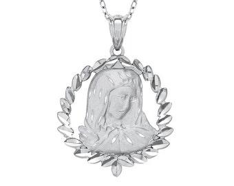 Sterling Silver Virgin Mary pendant. religious pendant. miraculous pendant.
