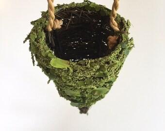 Flower Cone, Moss & Twig Cone, Moss Wedding Decor, DIY Moss Wedding, Moss Pew Decor