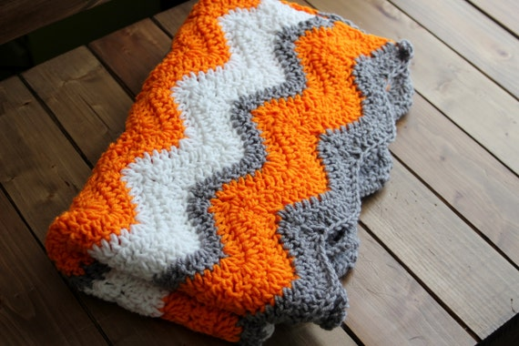 University Of Tennessee Crochet Baby Blanket Ripple Afghan