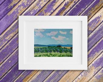 American Landscape Painting - Original Small Oil Painting - Cornfield Pennsylvania Dutch Amish County  7 x 5