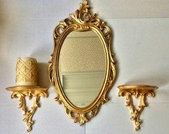"30""H, Wall Mirror, Oval Mirror, Mirror Wall, Vintage Mirror, Decorative Wall Mirror, Oval Wall Mirror, Gold Leaf Mirror,Item VGLOM0001"