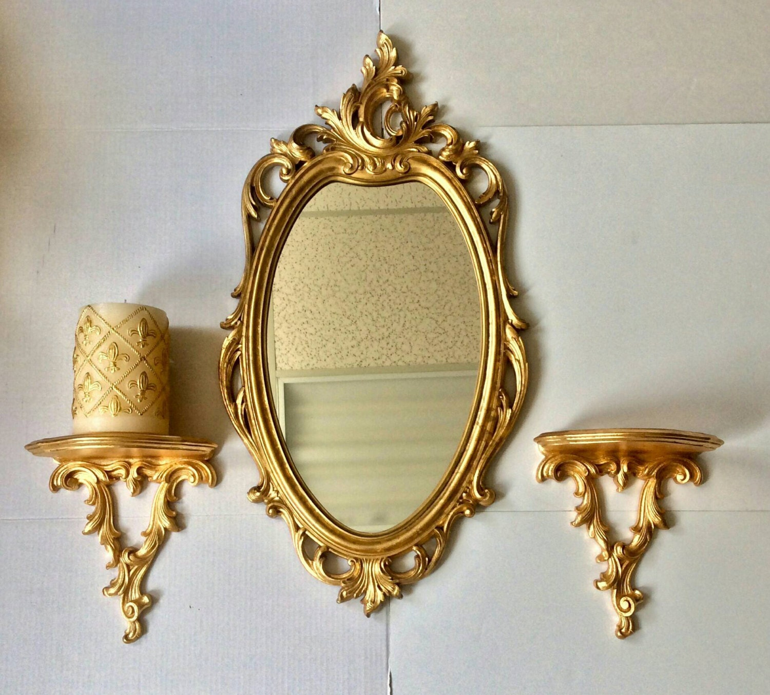 30h wall mirror oval mirror vintage mirror for Fancy oval mirror