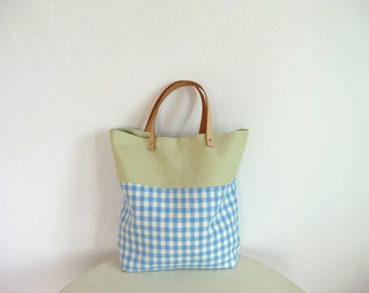 Lunch Tote, Linen in Blue Pastel Plaid