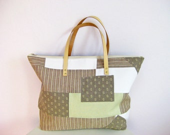 Weekender, Gym Bag, Patchwork Oversize Tote Bag