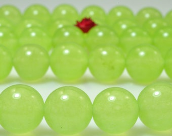 37 pcs of Prehnite Jade smooth round beads in 10mm