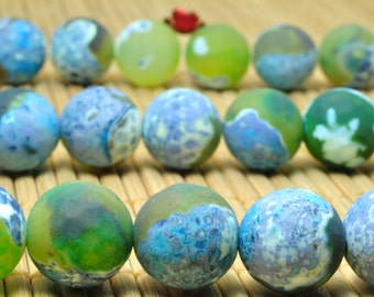 32 pcs of Dyed  Rainbow Agate matte round beads in 12mm