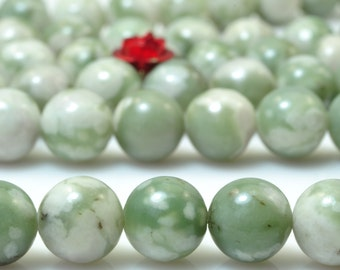 47 pcs of Peace green Jasper smooth Round beads in 8mm
