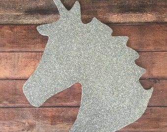 Unicorn Wall Art hanging silver sparkle, party decor, room decor, nursery.
