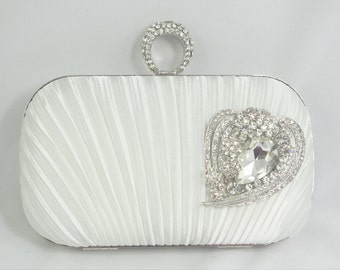 Diamond White Bridal Clutch Handbag, Crystal Bridal Clutch Bag, White Satin Box Clutch, Silver Brooch Hard Clutch Petite Bridal Clutch Purse