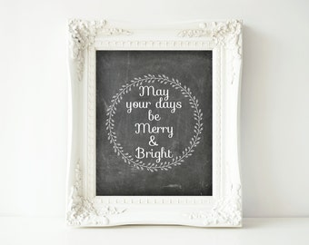 Printable Christmas Sign-8x10-Instant Download-Merry and Bright Chalkboard Sign