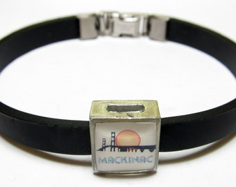 Mackinac Michigan Link With Choice Of Colored Band Charm Bracelet