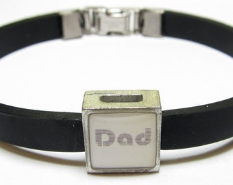 Dad Family Link With Choice Of Colored Band Charm Bracelet