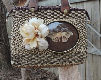 Upcycled Purse,Vintage Purse,One of a Kind Purse,The Moth,Bags and Purses,Handbags,Wooden Handled Purse,Braided Basket Purse