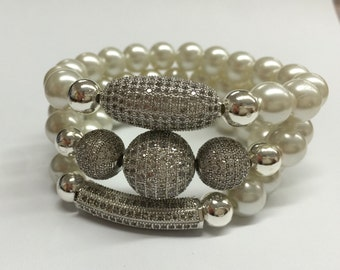 Pearl and pave beaded bracelet, women's bracelet