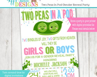 Twins Gender Reveal Party Invitation  - Pink and Blue - Boy or Girl -  Two Peas in Pod Gender Reveal
