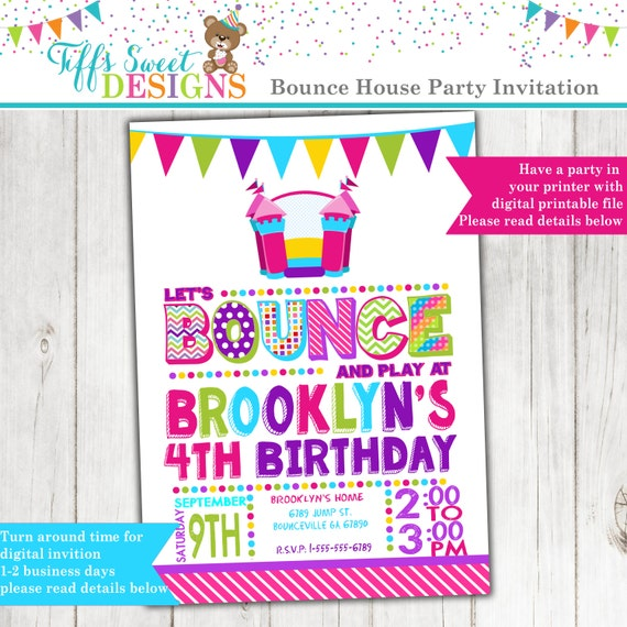 Bounce House Party Bounce House Invitation Jump Party