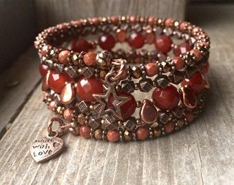 Rusty Star Multi Strand Copper Memory Wire Wrap Bracelet