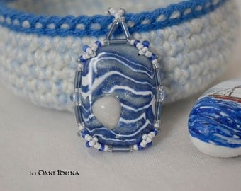 """Pendant """"Whisper of Water"""" with quartzite / Blue white polymer clay beaded pendant / Unique piece"""