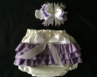 Purple Baby Ruffle Butts with Matching Bow