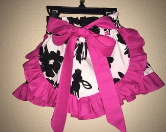 Black and White and Pink Ruffle Shorts