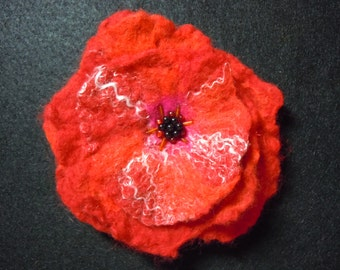 Red felted flower pin with beading
