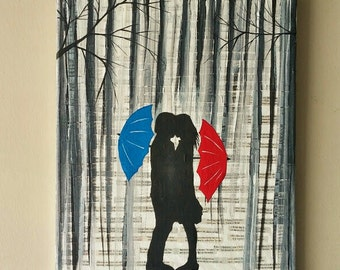 Couple kissing in the rain wall art,couple with red umbrella painting,couple silhouette painting,Kiss art,Birthday Gift for her