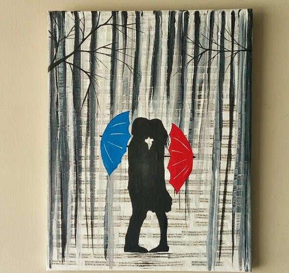 Couple Kissing In The Rain Wall Artcouple With Red Umbrella