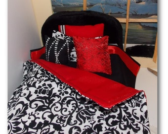 Twin Size Fashion Doll Bedding Set, Comforter, Sheet, 1 Pillow/Pillowcase and 3 throw pillows. Red & Black Doll House Bedding.