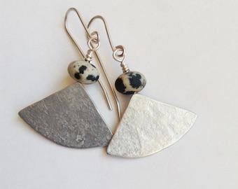 Dalmation Jasper and Silver Segment Earrings