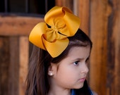 SALE, Mustard Yellow Hair Bow, Extra Large Hair Bow, Boutique Hair Bow, XL Hair Bow, Uniform Hair Bow, Big Hair Bow, Big Bows