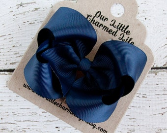 Blue Hair Bow, Navy Boutique Hair Bow, Blue Hairbow, Back to School Hair Bow, Blue Bow, Blue Hair Clip, Navy Hair Bow, Navy Hairbow