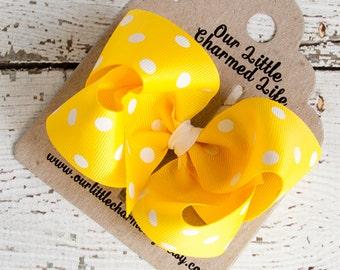Yellow Hair Bow, Boutique Hair Bow, Yellow Hairbow, Yellow Hair Clip, Polka Dot Hair Bow, Baby Hair Bow, Girls Hair Bow, Toddler Hair Bow