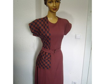 40s style check dress