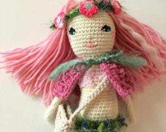 ON SALE 35% OFF Crochet Mermaid Doll - Ooak Little Mermaid Baby - Pink Crochet Doll - Birthday Gift for Girls