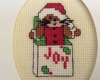Cross Stitched Christmas Card with Envelope