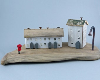 Terraced Country Cottage with a big house on a smooth piece of Driftwood as a base #266