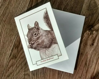 I'm Nuts About You, Cute Squirrel Valentine, Anniversary Card