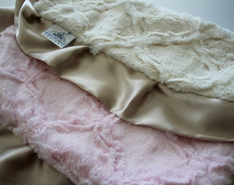 Baby Pink and Ivory Embossed Lattice Lovie Blanket with Champagne Gold Satin Trim - Baby Girl, Crib Bedding, Infant and Toddler