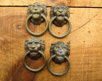Vintage Lion Drawer Pulls - Lion Head Dresser Pulls - Lion Furniture Hardware
