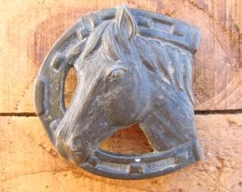Vintage Metal Horse and Horseshoe Cowboy Belt Buckle